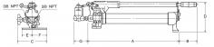 Rozměry-Ruční pumpy pro dvojčinné válce model HPH