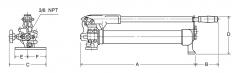 Ruční pumpy pro jednočinné válce model HPS rozměry obrázek